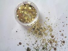 3g POT GOLD   -  SEQUIN /DISCS /DOTS  GLITTER MIX - NAIL ART