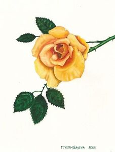 1.5x2 DOLLHOUSE MINIATURE PRINT OF PAINTING RYTA 1:12 SCALE YELLOW ROSE of TEXAS