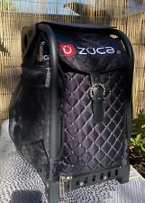 Zuca Black Rhinestone Rolling Bag W/ Frame & Light Up Wheels Luggage 4 Pouches