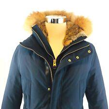 Mackage Edward Slim Navy Down Fox Fur Hooded Parka Coat Mens Size 40 Large NWT