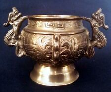 Oriental Heavy Brass Dragon Handled Censor 7 Inches Wide