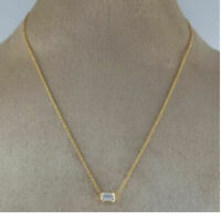 "1.0 ct Emerald Cut Solitaire 14k Yellow Gold Over Diamond Pendant With 18"" Chain"