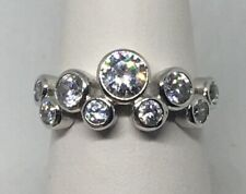 Vintage New Old Stock White Gold Plated CZ Multiple Round Stone Ring Size 6