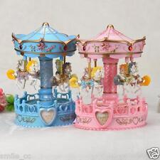 Vintage Horse Carousel Music Box Toy Light Clockwork Musical Birthday Gifts USA