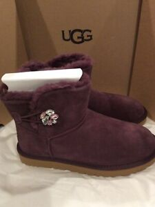 New in box UGG Mini Bailey Button Gem Plum Suede Boots women's Size 9