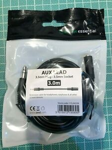 3M Aux Extension Lead 3.5mm jack Male to Female Headphone Stereo Extender