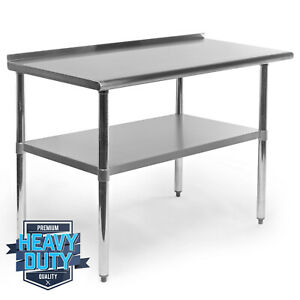 "OPEN BOX - Stainless Steel Kitchen Work Prep Table with Backsplash - 24"" x 48"""