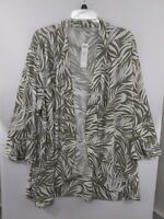 Chico's sz 4 NWT Open Front Leaf Print Jacket US 20/22 570265926 Vetiver Green