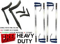 "4 Pcs/Set F Clamps Bar Clamp 300mm x 50mm 12"" Long  & 140mm Dutch Pins Mason Peg"