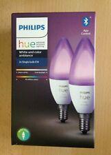 Philips Hue White and Color Ambiance 2 Smart-Glühbirnen E14 mit Bluetooth, Weiß