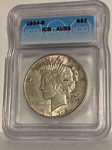 1934 S Peace Dollar ICG AU53