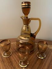 Mid Century Amber Bohemian Glass w/Gold Decanter & 3 Cordial Glasses Barware