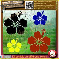lot 4 stickers autocollant fleur Hibiscus pour deco voiture, frigo, murs decal