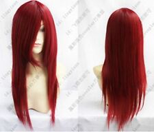 Heat Resistant dark red long straight Cosplay party Wig 70cm gh3