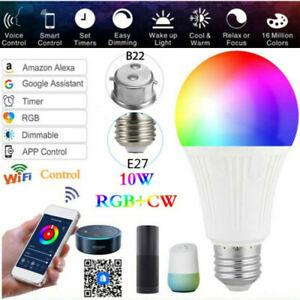E27/B22 RGB Birne WiFi Lampe Alexa Google Home Smart LED Glühbirne Licht DE