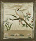 Framed Antique Silk Needlework   Owl With Glass Eyes