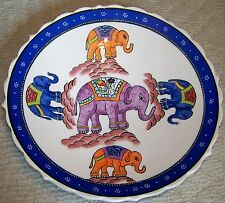 "Defective Ten Elephant Pattern 12"" Blue Border Handpainted Turkish Ceramic Plate"