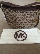 NWT MICHAEL KORS Signature bennet Brown jacquard leather purse bag Hobo Inc DC