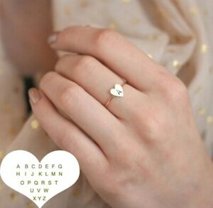 Gold Silver Cute Alphabet Tiny Initial letter Ring Adjustable UK Seller A-Z