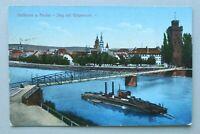 W10) AK Heilbronn 1918 Steg Götzenturm Neckar Dampfschiff Architektur Promenade