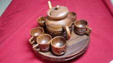 Carved Hand Made Teapot and 6 Cups With Tray Wooden