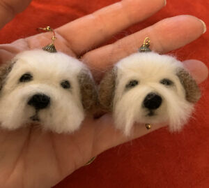 NEEDLE FELTED DOG EARRINGS AND BROOCHES, HANDMADE MADE TO ORDER