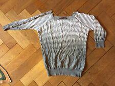 Women's COMPTOIR DES COTONNIERS L/S Knit Stripe Top Grey White Size XS