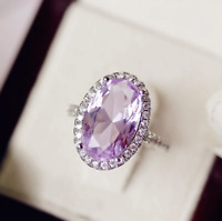 5Ct Oval Cut Amethyst Diamond Cocktail Halo Engagement Ring 14K White Gold Over