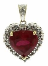 Ladies Ruby and Diamond Heart Pendant in 10 Kt Yellow Gold