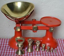 """ENGLISH """"THE VIKING"""" RED CAST IRON KITCHEN BALANCE SCALES 7 BRASS BELL WEIGHTS"""