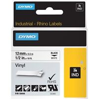 "DYMO Rhino Permanent Vinyl Industrial Label Tape 1/2"" x 18 ft White/Black Print"