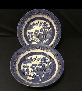 """Churchill England Blue Willow 9"""" Serving Bowl Set Of Two No Chips Or Crazing"""