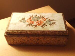 "Vintage Cork With Ceramic Tile Top Storage/Jewellery Box ~2 3/4"" High + 9"" Long."