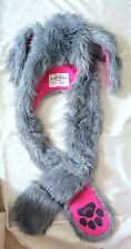 Authentic Spirit Hoods Nasty Rabbit Hood Hat Grey Pink Rabbit Ears Spirithood