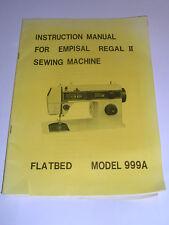 ORIGINALE Empisal Regal 11 modello 999 A Manuale istruzioni macchina da cucire