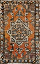4x6 Vintage Anatolian Geometric Area Rug Turkish Hand-Knotted Wool Foyer Carpet