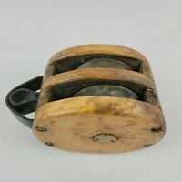 Vintage Antique Wooden Ships Double Pulley Block Maritime Marine Boat Nautical