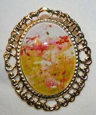 Swirled Rim Goldtone Colorful Flowers Glass Cameo Brooch Pin