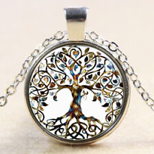 Tree Of Life Glass Cabochon Silver Plated Necklace Pendant & Gift Bag (019)