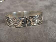 Vintage Mexican Sterling Silver Hand Chased Niello Bracelet Eagle Mark