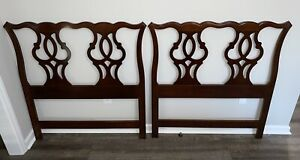 Vintage Pair of Drexel Heritage Twin Chippendale Fretwork Mahogany Headboards