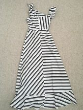 Asos Size 8 Women's Black & White Striped Stunning Frill Maxi Dress New