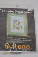 Vtg SULTANA Creative Needlecraft Crewel Embroidery Kit #32102 RAINDROPS 12x16