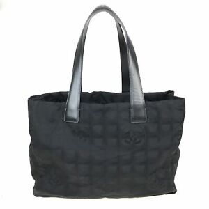 100% Authentic CHANEL Nylon New Travel Line Tote Bag Black [Used] {08-0296}
