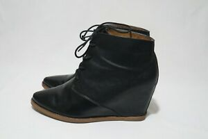 Dolce Vita Size 10 Womens Black Leather Lace Up Wedge Boots