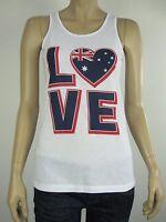 Australia Day Ladies Love Australia Singlet Tank Top 6 10 12 14 16 18 White