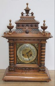 RARE VICTORIAN BLACK FORREST WALNUT GERMAN ORNATE 14 DAY MANTLE CLOCK BY H.A.C.