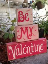 Be My Valentine sign set of 3 stacking wood blocks handmade gift sweetheart love