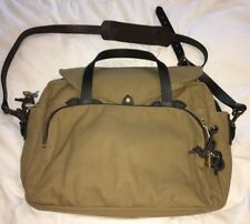 C.C. FILSON Tan Canvas Padded Laptop Computer Bag Briefcase Messenger-NEW no tag