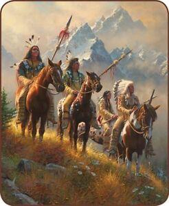 79x96 Queen Rise Above Indian Native American Mink Fleece Blanket Super Plush
